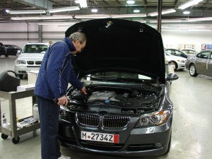 The author's car being checked over at BMW's Vehicle Distribution Center (VDC) in New Jersey