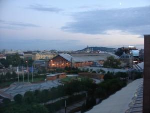 View from Hilton guestroom towards Gustav Eifel's Nyugati train station.