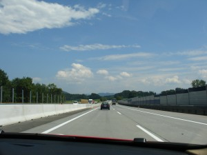 Driving on the autópálya (highway or Autobahn) in Hungary