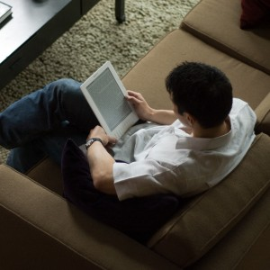 The Kindle DX in use.