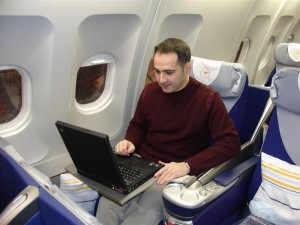 The author, connected to the Net at 30,000 feet via Connexion by Boeing