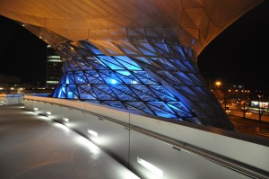 The BMW Welt at night