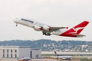 Qantas flight leaving Hamburg, Germany