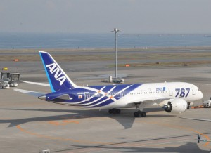 A Dreamliner in ANA livery at Tokyo's Haneda Airport