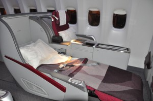 Qatar Airways' business-class seating on a Boeing 777