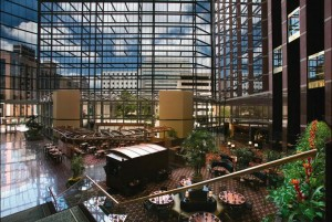 Atrium and lobby at Omni Austin Hotel