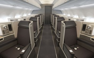First class cabin in a new Airbus A321 Transcon