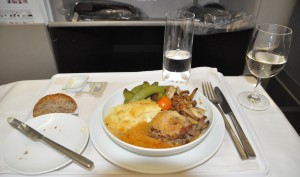 Business-class meal on Swiss