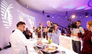 Chef Vineet Bhatia demonstrating his cooking in Doha