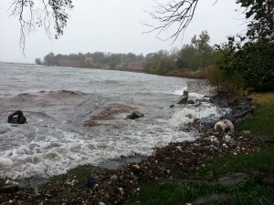 New York's East River near Fort Totten during Sandy