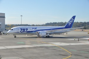 ANA's Dreamliner in Seattle for launch flight in 2012