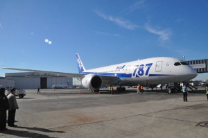 ANA's Dreamliner in Seattle for its launch flight