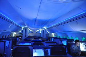 Interior of ANA's Dreamliner at night