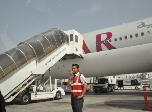 A Qatar aircraft on the runway