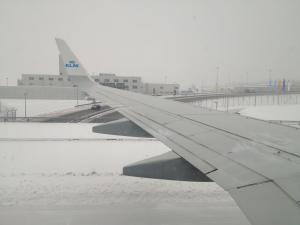 Snow blanketed Munich Airport last week.