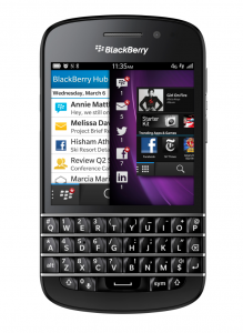 The new BlackBerry Q10 smartphone