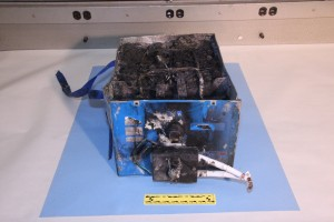 Burned APU battery from a JAL Boeing 787