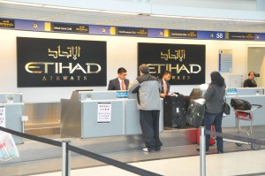 Etihad check-in counter, Chicago O'Hare