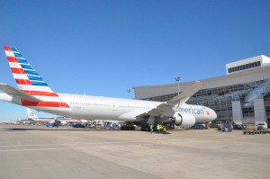 An American Airlines 777-300ER parked at DFW