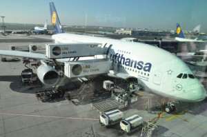 An Airbus A380 in Lufthansa livery