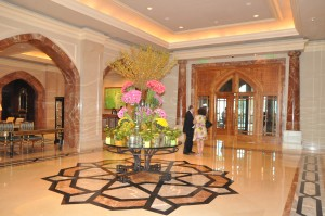 The lobby of a Four Seasons hotel in Doha, Qatar