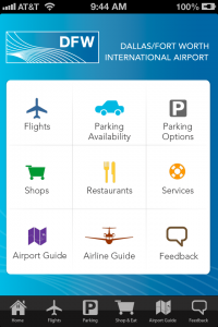 Main menu, DFW airport app