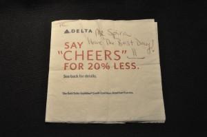 Flight attendant Baca's note