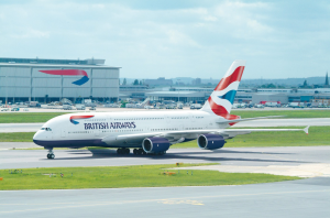 An Airbus A380 in BA livery