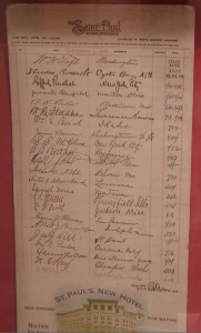 1910 guest register, the Saint Paul. Theodore Roosevelt and William Howard Taft the first two entries