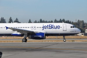 A JetBlue aircraft in Seattle