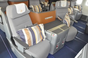 Lufthansa business class on a Boeing 747-8