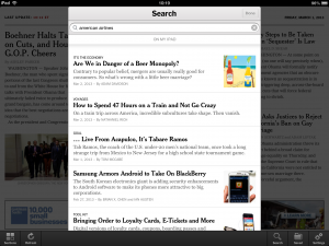Search results on the New York Times app