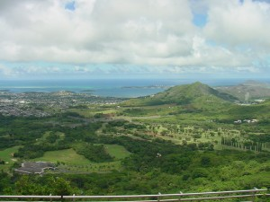 Oahu, the third largest of the Hawaiian Islands. Honolulu is on its southeast coast.