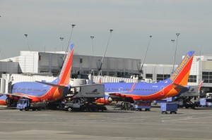Southwest aircraft at the gate in Seattle