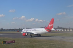 Virgin Atlantic and Delta aircraft at London-Heathrow