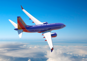 A Boeing 737 Max 7 in Southwest livery