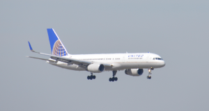 A United plane landing at JFK