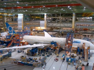 The first 787-9 in final assembly