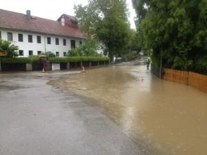 Flooded streets in Ebersberg, Germany