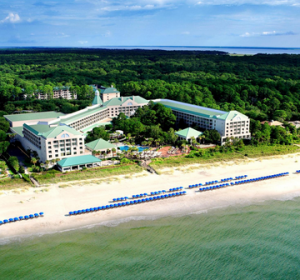 An aerial view of the hotel