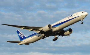 A 777-ER aircraft taking off