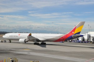 An Asiana aircraft in Seattle