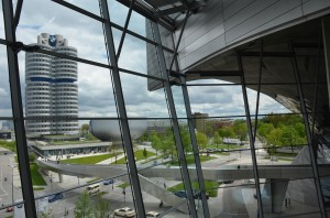 BMW's headquarters and Museum as seen from the BMW Welt