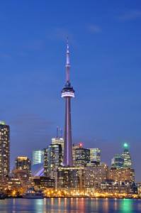 The CN tower in Toronto's Entertainment District