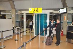 Boarding an American flight in São Paulo