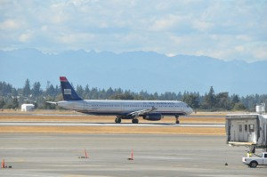 A US Airways jet in Seattle