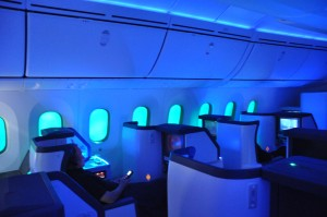 Lie-flat seats on board an ANA Dreamliner