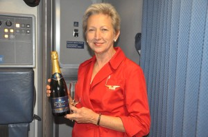 Delta Purser Kathleen Hall on the author's flight