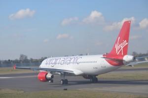 A Virgin Atlantic aircraft on a runway at JFK