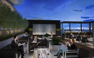 A sketch of the new lounge's open air terrace